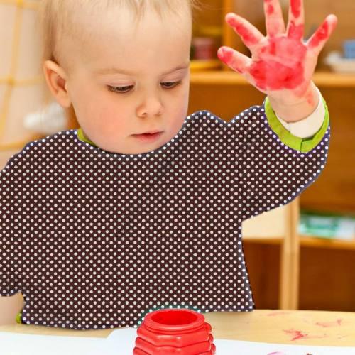 Toile polyester marron petit pois blanc