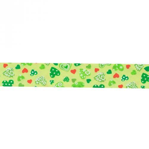 Biais fantaisie 30mm vert motif cœur