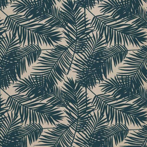 Toile polycoton imprimé jungle bleu