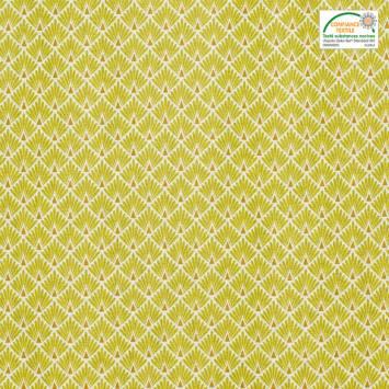 Coton imprimé écailles vert anis et ocres