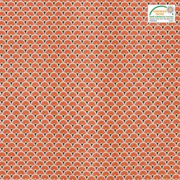 Coton imprimé éventails orange et ocres