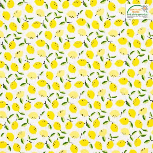 Coton blanc imprimé citron