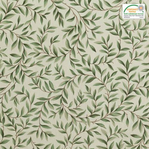 Toile coton imprimé feuillage verte