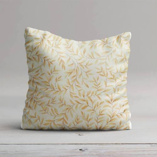 Toile coton imprimé feuillage jaune