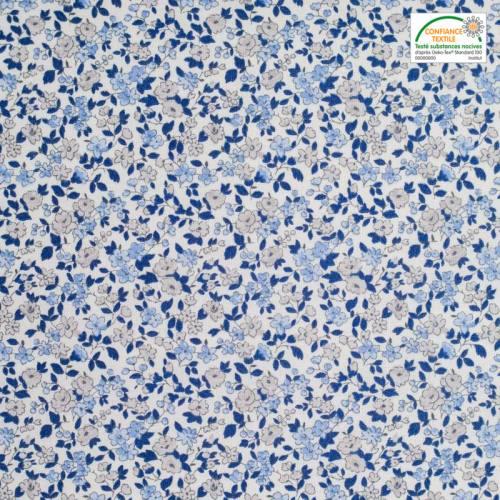 Coton écru petites fleurs bleues et grises