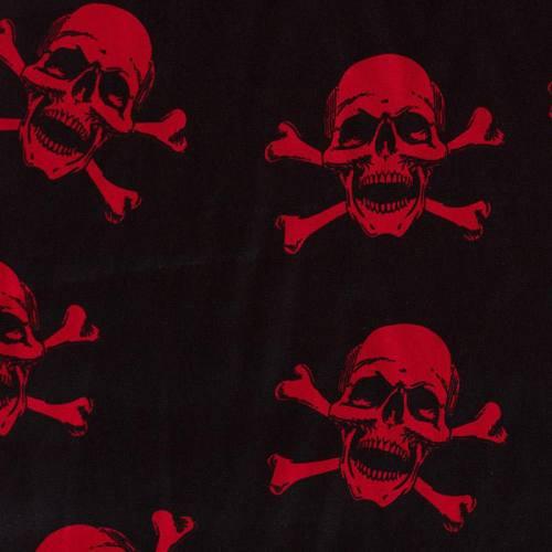 Satin noir tête de mort rouge