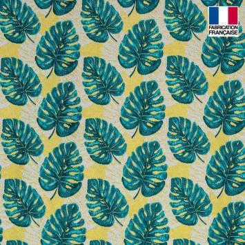 Jacquard motif feuille bleu pétrole