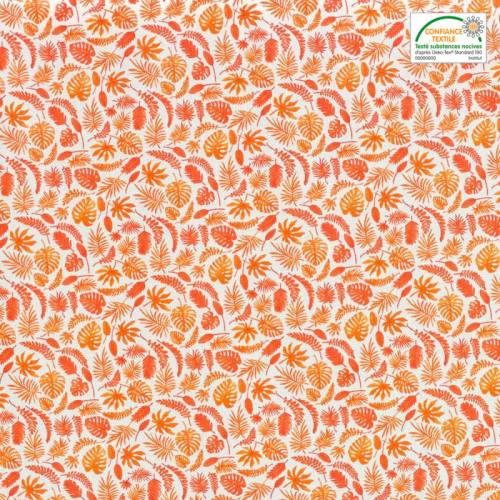 Coton blanc motif jungle orange