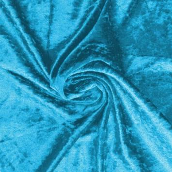 Panne de velours bleu azur